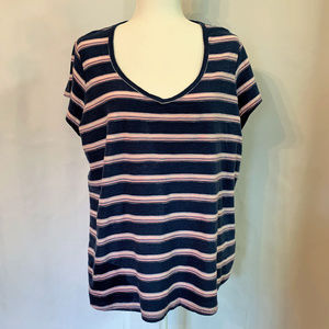 CHAPS STRIPED V NECK TEE-EE8